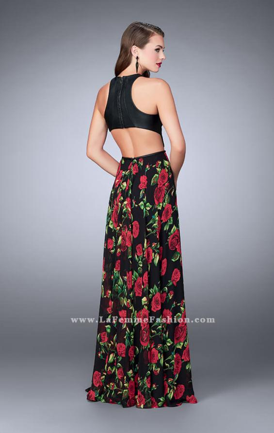 Picture of: Floral A-line Dress with Vegan Leather Top and Pockets in Print, Style: 24273, Back Picture