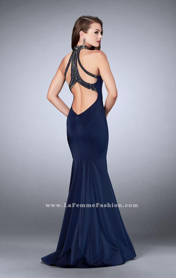Picture of: High Neck Jersey Dress with a Cut Out Beaded Back, Style: 24277, Back Picture