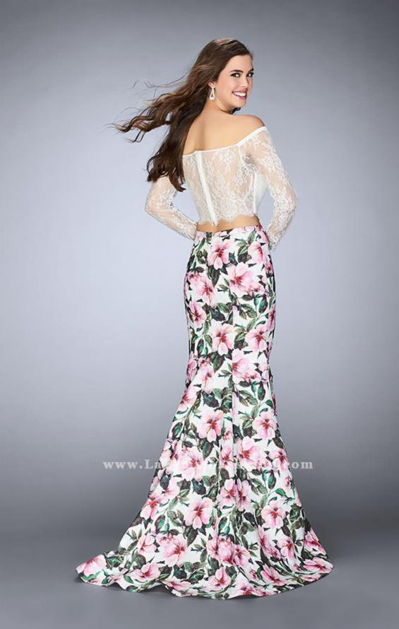 Picture of: Off the Shoulder Floral Two Piece Prom Gown in Print, Style: 24281, Back Picture