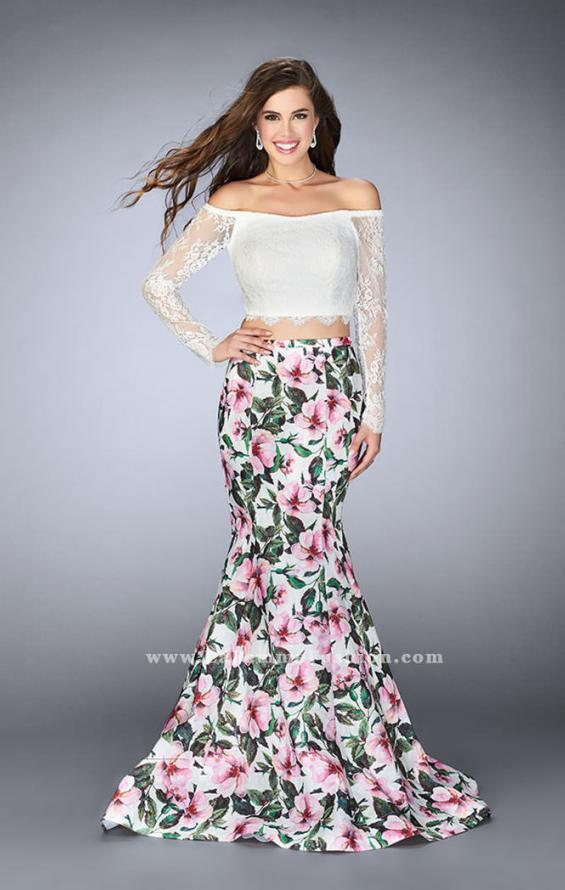 Picture of: Off the Shoulder Floral Two Piece Prom Gown in Print, Style: 24281, Detail Picture 1