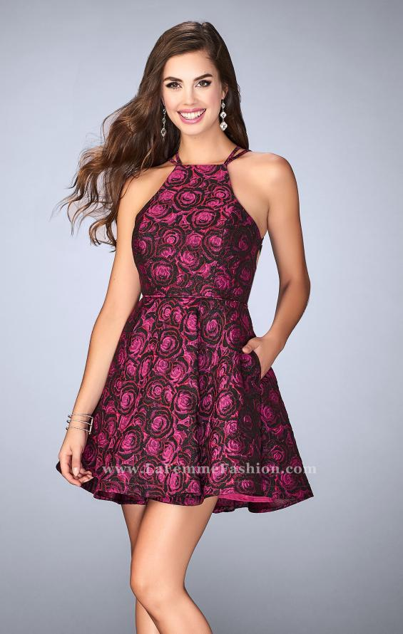 Picture of: Short Rose Print Dress with Pockets and Flared Skirt in Pink, Style: 24283, Main Picture