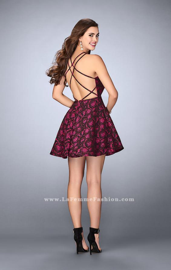 Picture of: Short Rose Print Dress with Pockets and Flared Skirt in Pink, Style: 24283, Back Picture