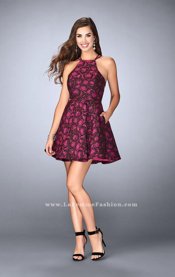 Picture of: Short Rose Print Dress with Pockets and Flared Skirt in Pink, Style: 24283, Detail Picture 1