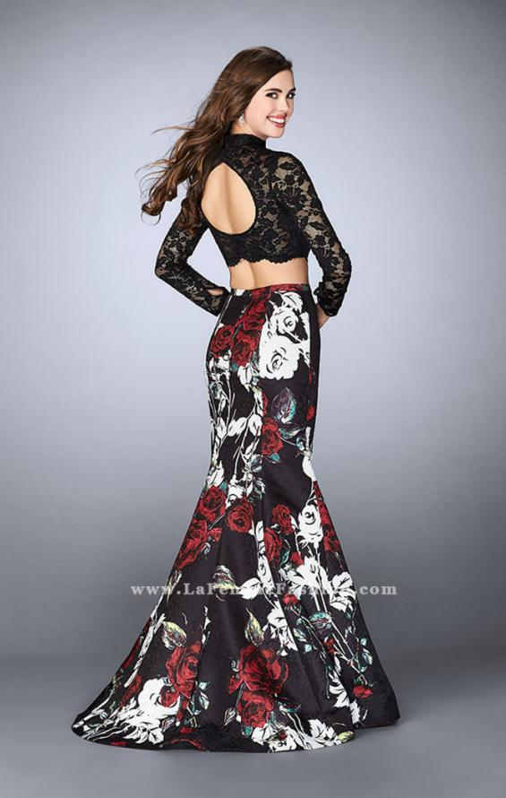 Picture of: Two Piece Prom Dress with Lace Top and Mermaid Skirt in Print, Style: 24285, Back Picture