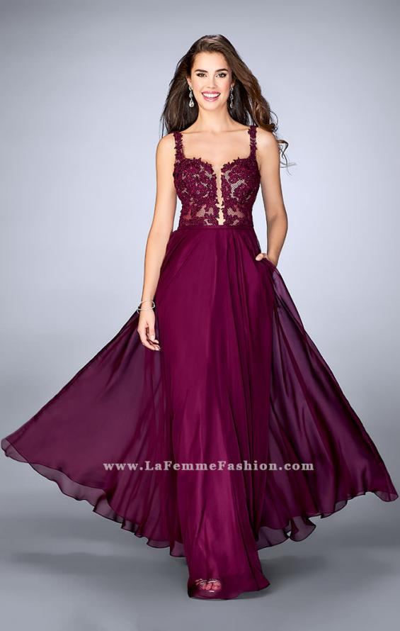 Picture of: A-line Prom Dress with Chiffon Skirt and Lace Top in Pink, Style: 24296, Main Picture
