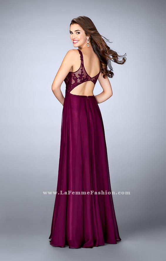 Picture of: A-line Prom Dress with Chiffon Skirt and Lace Top in Pink, Style: 24296, Back Picture