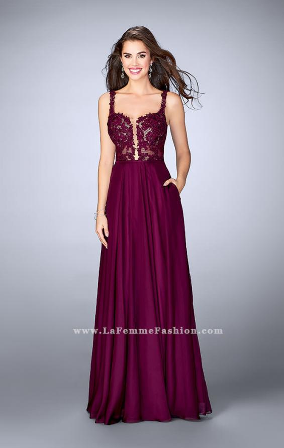 Picture of: A-line Prom Dress with Chiffon Skirt and Lace Top in Pink, Style: 24296, Detail Picture 1