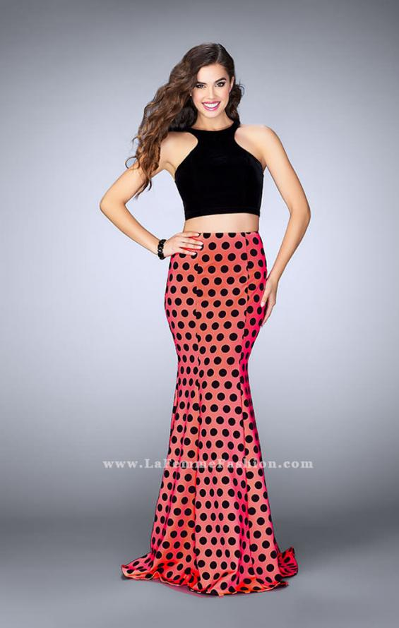 Picture of: Polka Dot Two Piece Dress with High Neck Velvet Top in Print, Style: 24297, Main Picture
