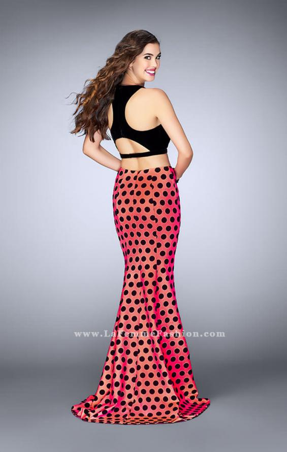 Picture of: Polka Dot Two Piece Dress with High Neck Velvet Top in Print, Style: 24297, Back Picture