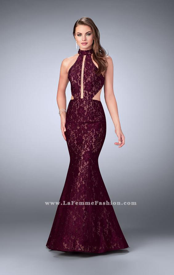 Picture of: Mermaid Lace Dress with Cut Outs and Open Back in Red, Style: 24303, Main Picture