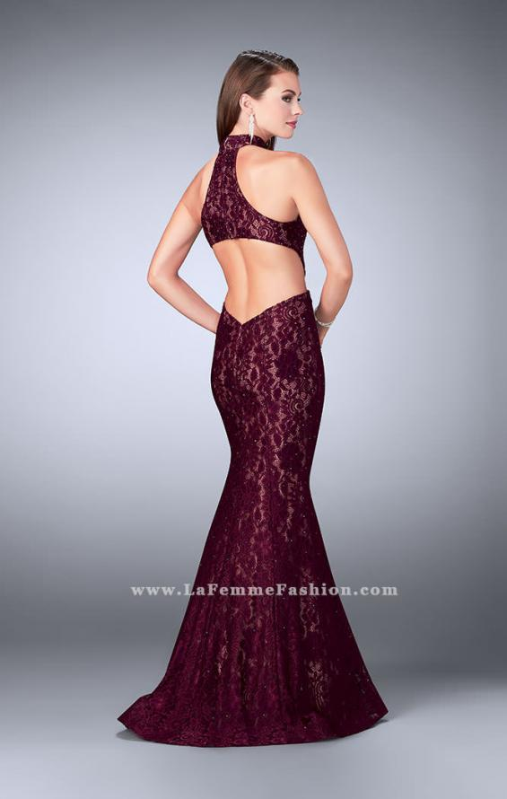 Picture of: Mermaid Lace Dress with Cut Outs and Open Back in Red, Style: 24303, Back Picture