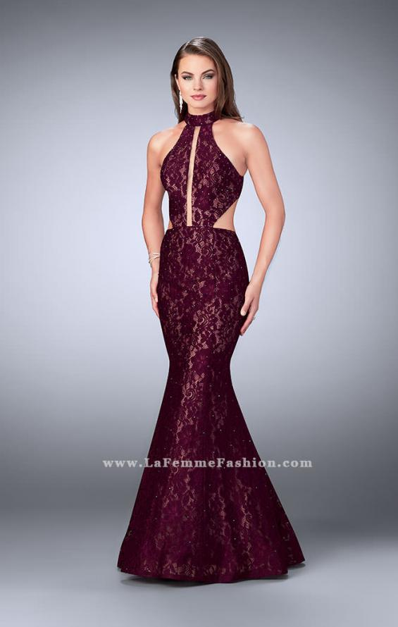 Picture of: Mermaid Lace Dress with Cut Outs and Open Back in Red, Style: 24303, Detail Picture 1