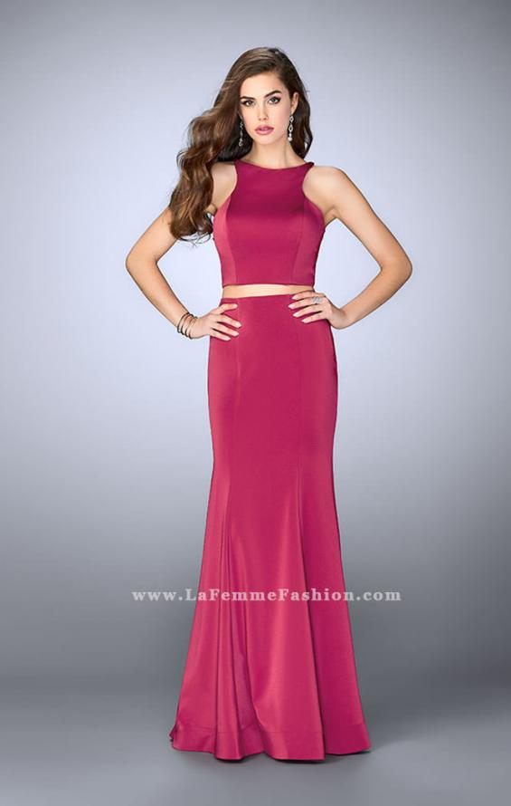Picture of: Two Piece Prom Dress with Lace Up Back in Pink, Style: 24310, Back Picture