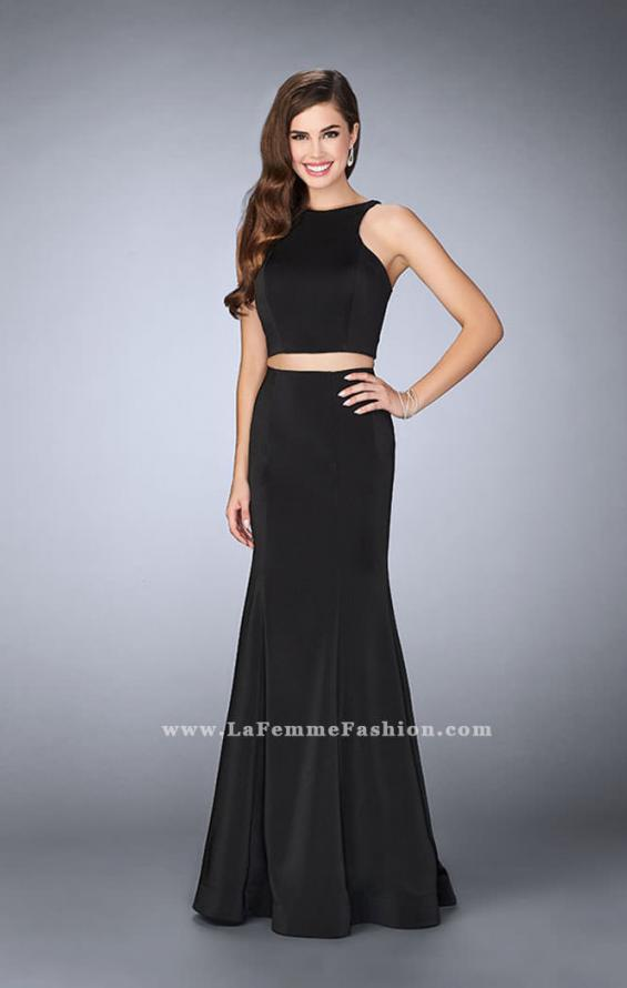 Picture of: Two Piece Prom Dress with Lace Up Back in Black, Style: 24310, Detail Picture 1