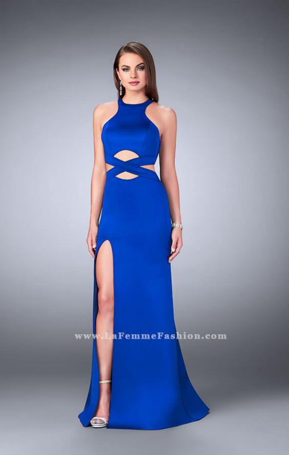 Picture of: Strappy Neoprene Dress with High Neck and Side Slit in Blue, Style: 24312, Main Picture