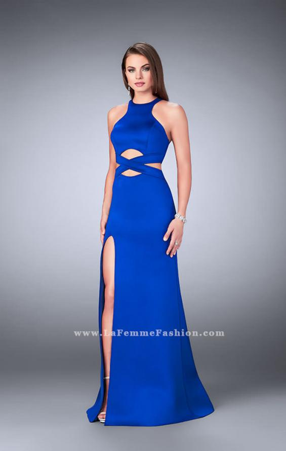 Picture of: Strappy Neoprene Dress with High Neck and Side Slit in Blue, Style: 24312, Detail Picture 1