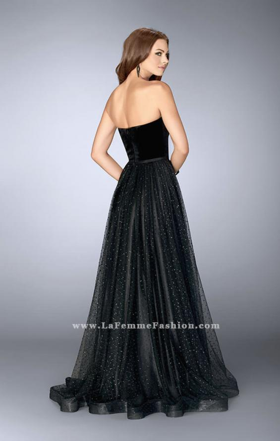 Picture of: Strapless A-line Dress with Polka Dot Sparkly Tulle Skirt in Black, Style: 24336, Back Picture