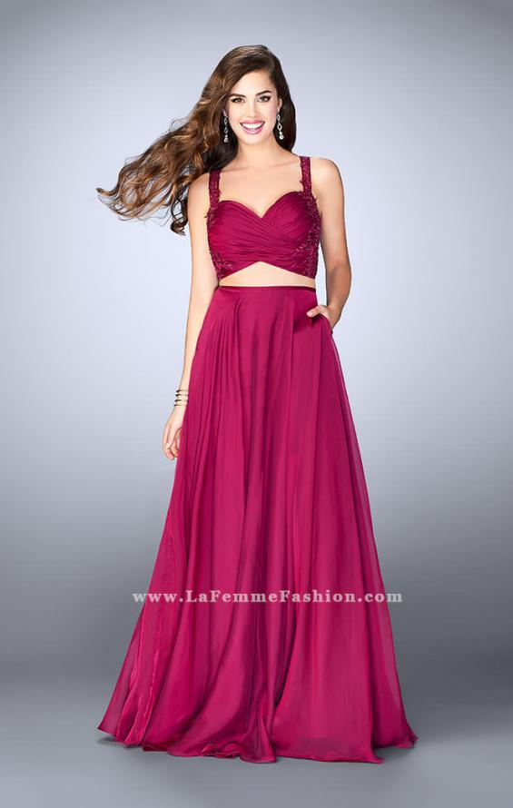 Picture of: Chiffon Two Piece A-line Dress with Sheer Lace Back in Pink, Style: 24340, Main Picture