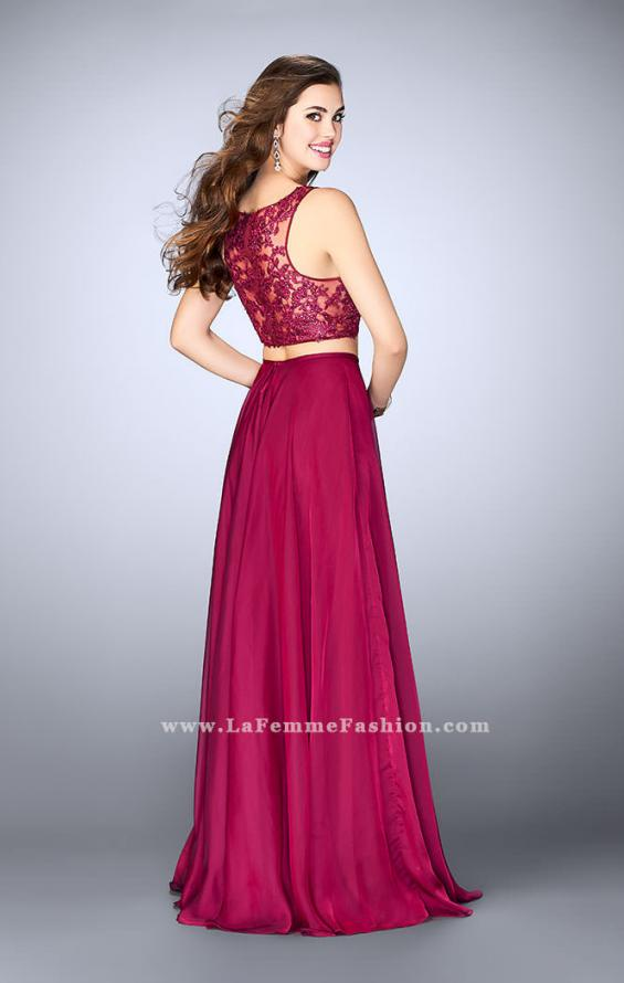 Picture of: Chiffon Two Piece A-line Dress with Sheer Lace Back in Pink, Style: 24340, Back Picture