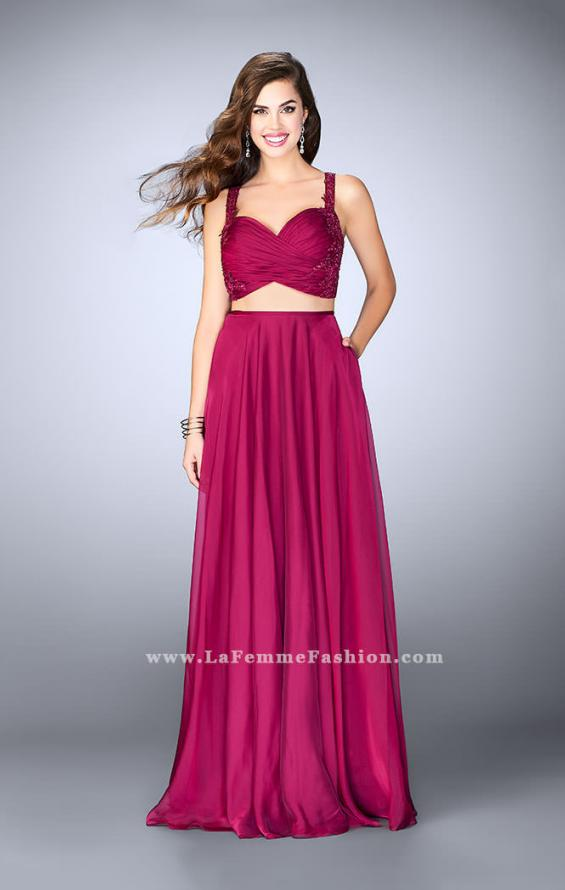 Picture of: Chiffon Two Piece A-line Dress with Sheer Lace Back in Pink, Style: 24340, Detail Picture 1