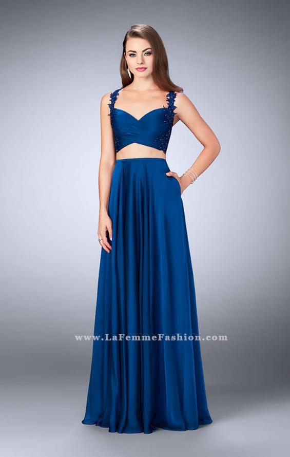 Picture of: Chiffon Two Piece A-line Dress with Sheer Lace Back in Blue, Style: 24340, Detail Picture 2
