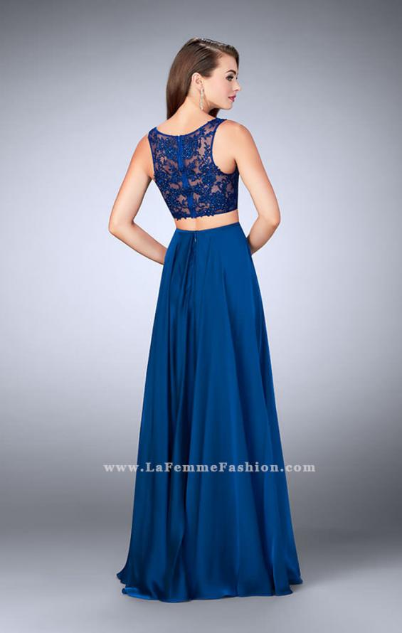 Picture of: Chiffon Two Piece A-line Dress with Sheer Lace Back in Blue, Style: 24340, Detail Picture 3