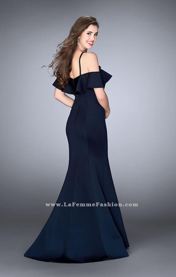 Picture of: Neoprene Ruffle Prom Dress with Mermaid Skirt in Blue, Style: 24344, Back Picture