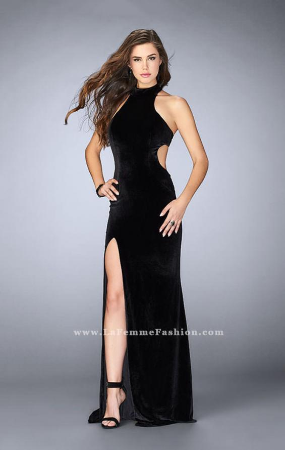 Picture of: Long Velvet Dress with Side Cut Outs and Strappy Back in Black, Style: 24349, Main Picture