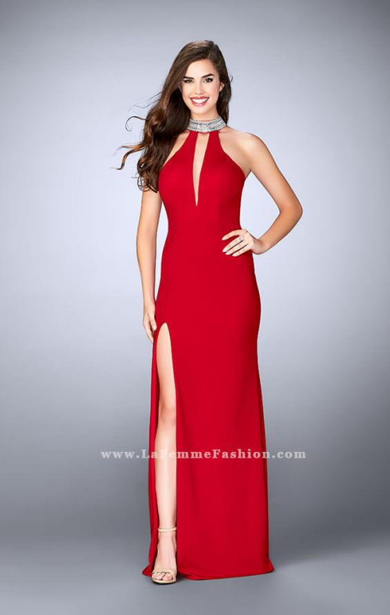 Picture of: Jersey Dress with High Beaded Collar and V Neckline in Red, Style: 24353, Main Picture