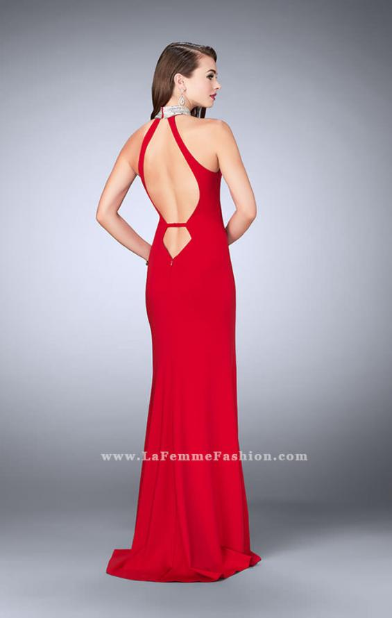 Picture of: Jersey Dress with High Beaded Collar and V Neckline in Red, Style: 24353, Back Picture