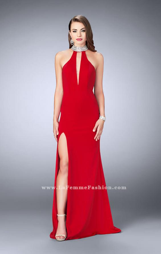 Picture of: Jersey Dress with High Beaded Collar and V Neckline in Red, Style: 24353, Detail Picture 1