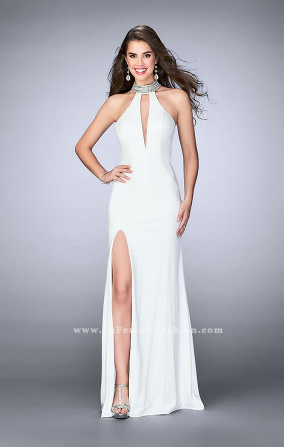Picture of: Jersey Dress with High Beaded Collar and V Neckline in White, Style: 24353, Detail Picture 2