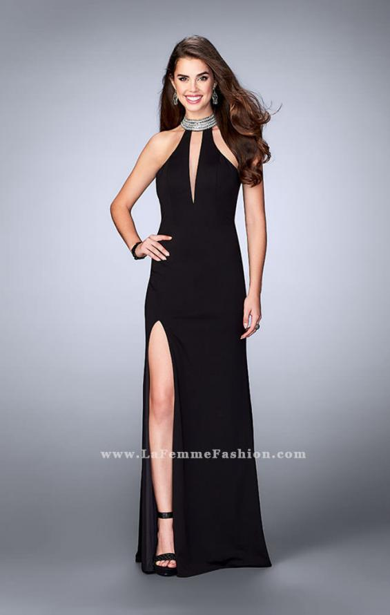 Picture of: Jersey Dress with High Beaded Collar and V Neckline in Black, Style: 24353, Detail Picture 3