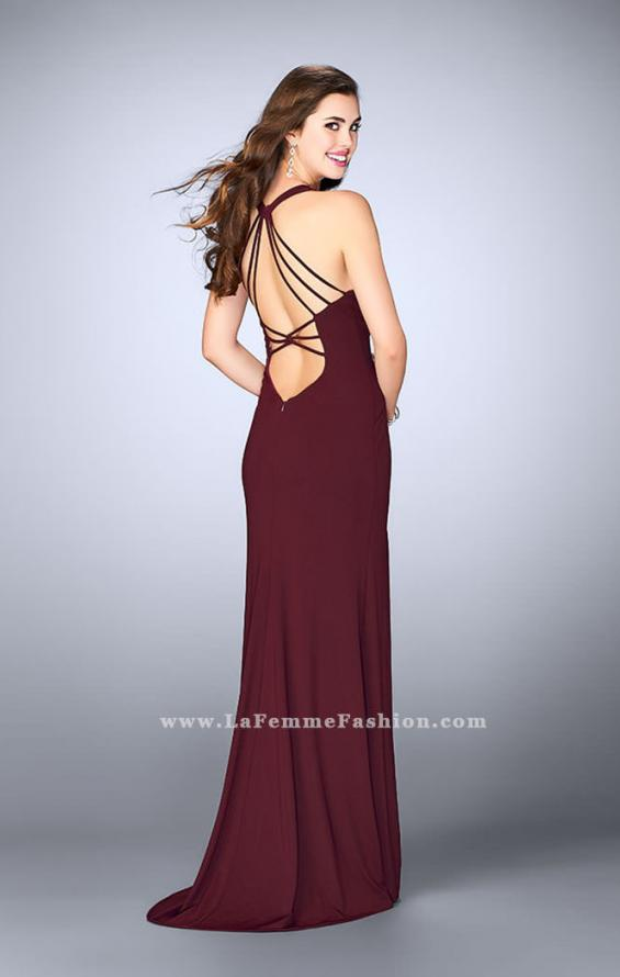 Picture of: Strappy Prom Gown with Deep Neckline and Side Slit, Style: 24355, Back Picture