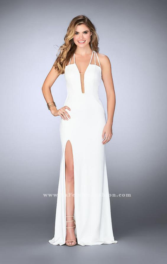 Picture of: Strappy Prom Gown with Deep Neckline and Side Slit, Style: 24355, Detail Picture 2