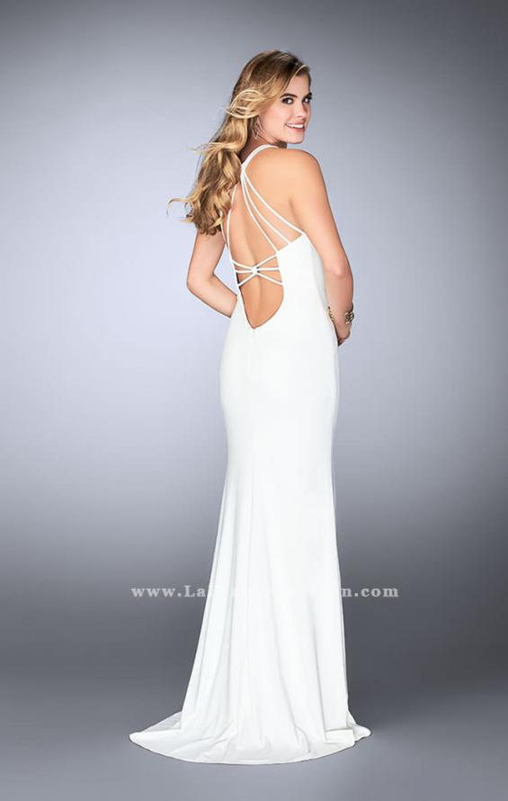 Picture of: Strappy Prom Gown with Deep Neckline and Side Slit, Style: 24355, Detail Picture 3
