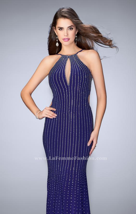 Picture of: Beaded Prom Dress with a High Neck and Strappy Back in Blue, Style: 24358, Main Picture