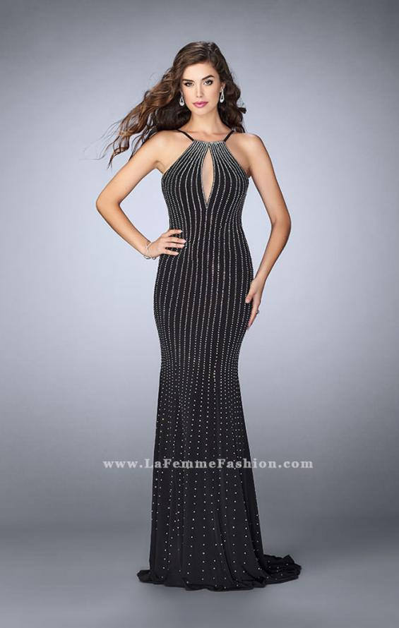 Picture of: Beaded Prom Dress with a High Neck and Strappy Back in Black, Style: 24358, Detail Picture 1
