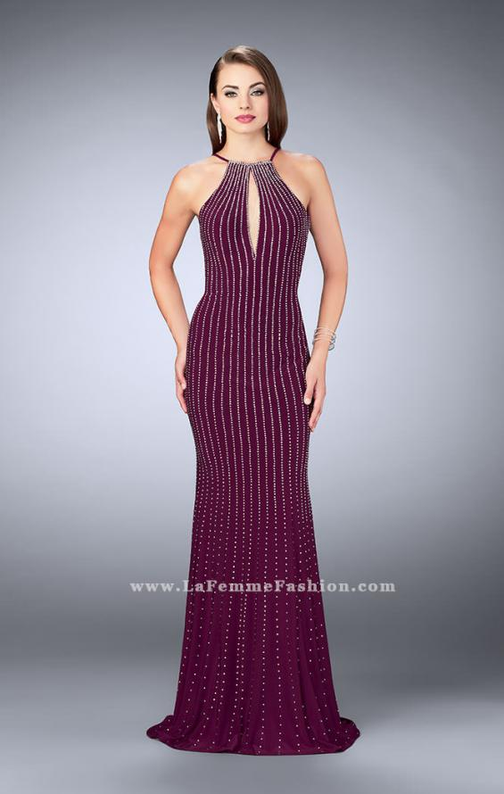 Picture of: Beaded Prom Dress with a High Neck and Strappy Back, Style: 24358, Detail Picture 3