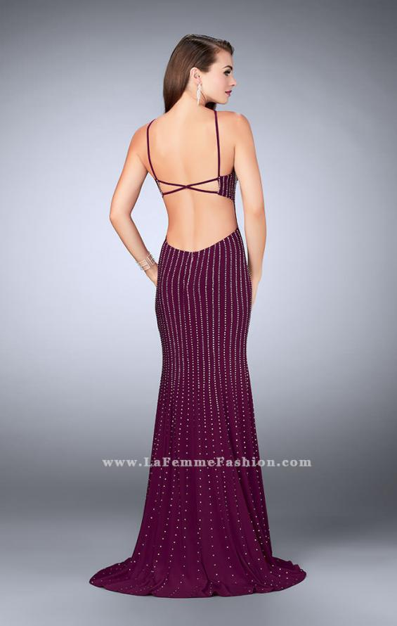 Picture of: Beaded Prom Dress with a High Neck and Strappy Back, Style: 24358, Detail Picture 4