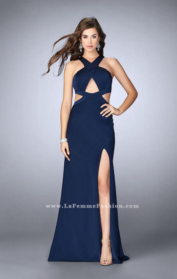 Picture of: Long Prom Dress with Front Slit and Open Back, Style: 24369, Main Picture