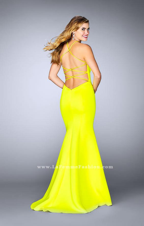 Picture of: High Neck Neoprene Prom Dress with Strappy Back, Style: 24374, Detail Picture 3