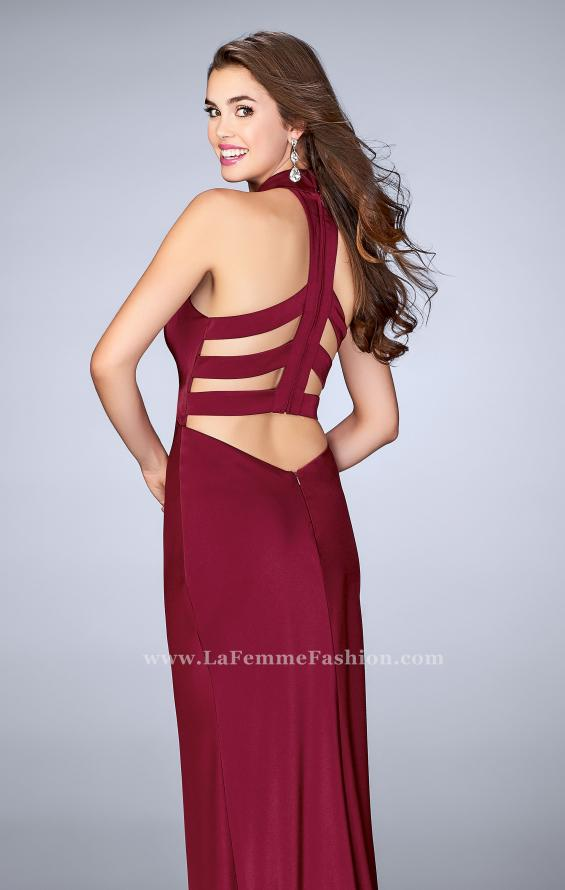 Picture of: Long Jersey Dress with High Neckline and Strappy Back, Style: 24376, Main Picture