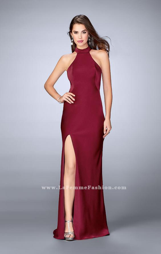 Picture of: Long Jersey Dress with High Neckline and Strappy Back, Style: 24376, Back Picture