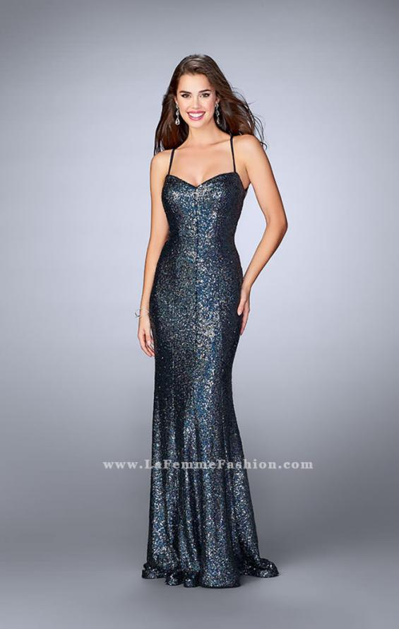 Picture of: Fitted Sequin Prom Dress with an Open Strappy Back in Blue, Style: 24378, Main Picture