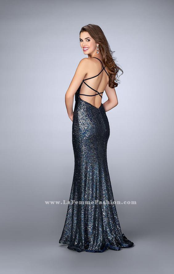 Picture of: Fitted Sequin Prom Dress with an Open Strappy Back in Blue, Style: 24378, Back Picture