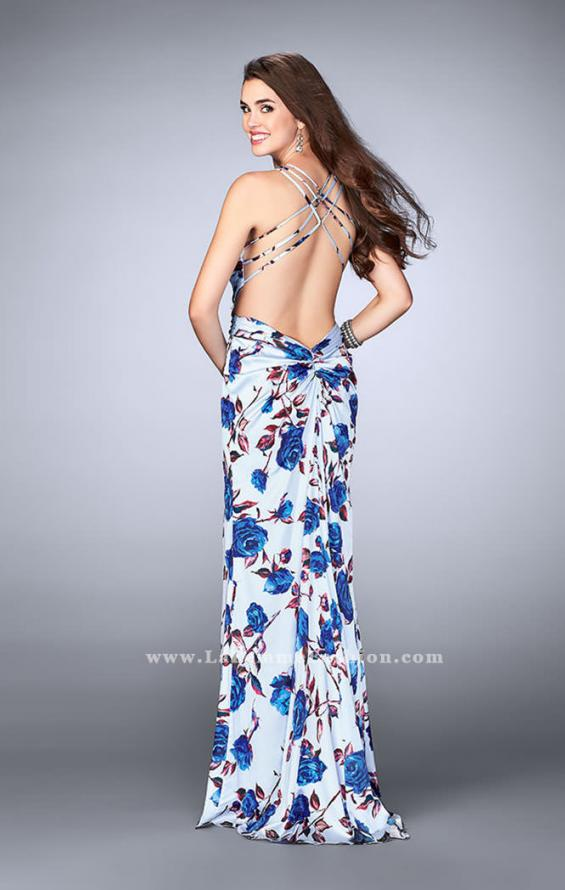 Picture of: Rose Printed Long Satin Prom Dress with Strappy Back, Style: 24382, Back Picture