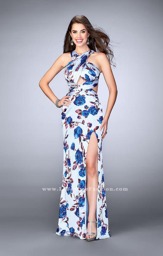 Picture of: Rose Printed Long Satin Prom Dress with Strappy Back, Style: 24382, Detail Picture 1