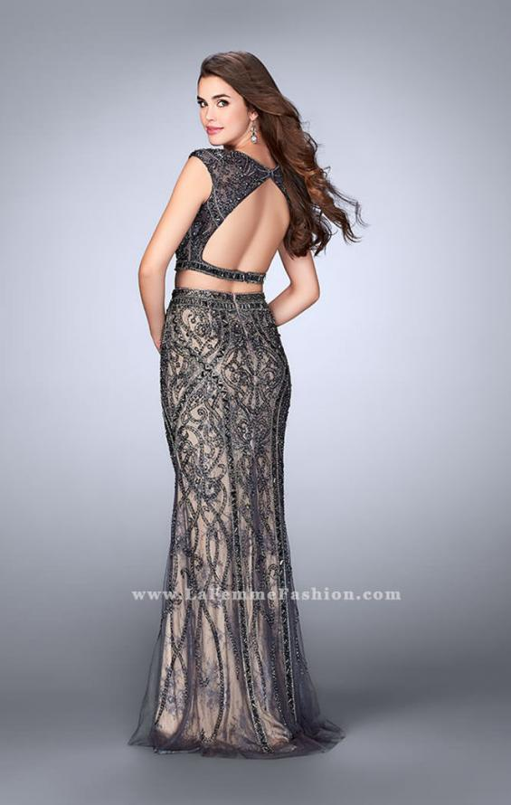 Picture of: Beaded Two Piece Dress with Lace and Cap Sleeves in Silver, Style: 24386, Back Picture