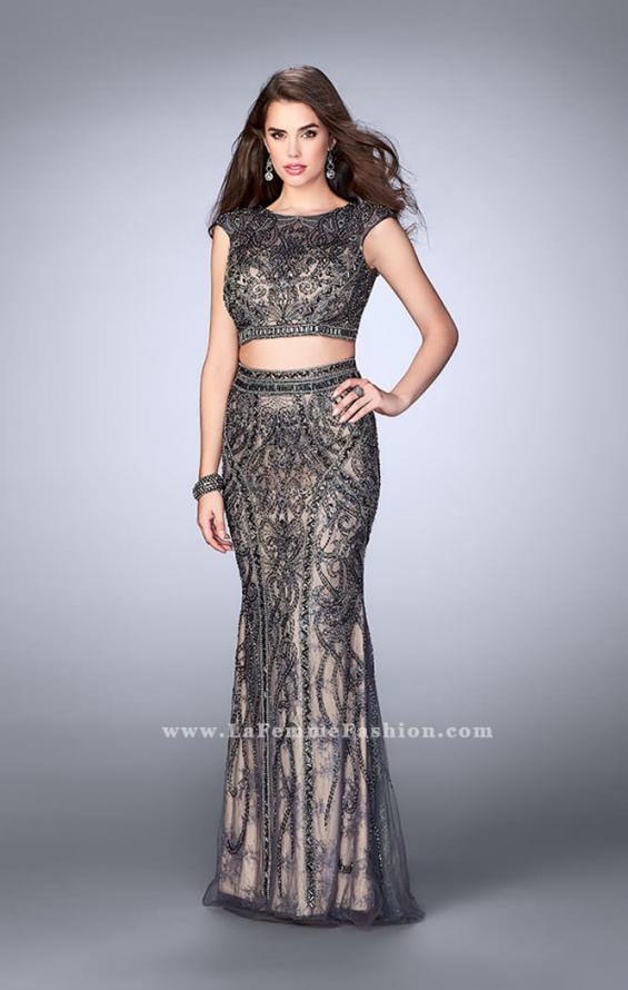 Picture of: Beaded Two Piece Dress with Lace and Cap Sleeves in Silver, Style: 24386, Detail Picture 1